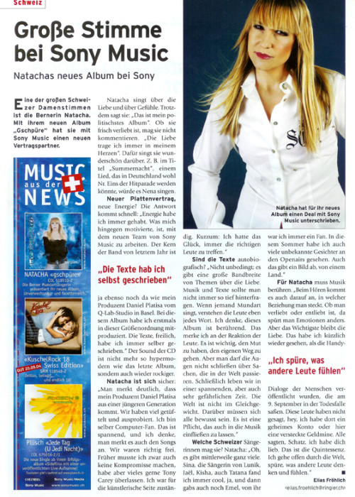 Grosse Stimme bei Sony Music - NATACHA
