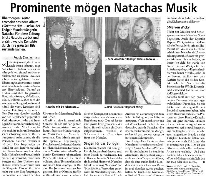 Prominente mögen Natachas Musik - NATACHA